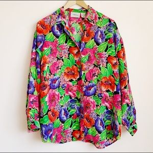 colourful pure silk long sleeve floral blouse